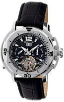 Heritor Lennon Automatic Black Brushed Sunray Dial Black Leather Men's Watch