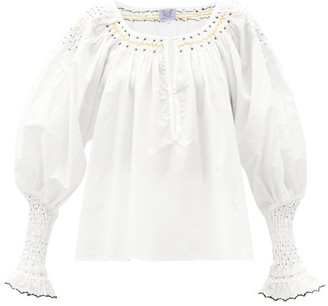 Thierry Colson Valeska Smocked Cotton Blouse - White / Ivory
