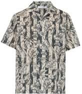 Desmond & Dempsey - Striped Foliage Print Cotton Poplin Pyjama Shirt - Mens - Blue Beige