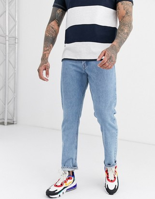 Jack and Jones Intelligence loose fit bleached jeans in blue