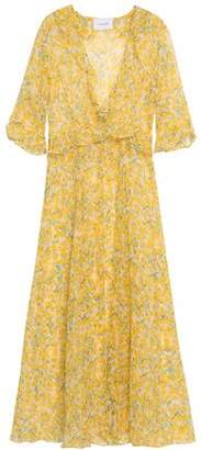 Leone We Are Ruffle-trimmed Floral-print Silk-georgette Robe