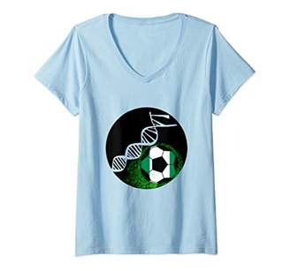 Womens Nigeria Football deep In My DNA V-Neck T-Shirt