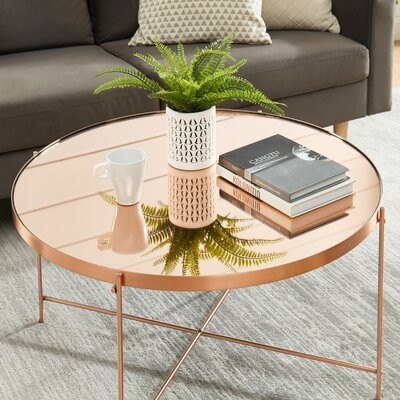 Thumbnail for your product : Mercer41 Ingwald Glass Top Drum End Table Color: Green