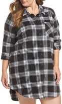 Make + Model Plus Size Women's Plaid Cotton Blend Nightshirt