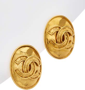 Chanel Gold-Tone Cc Oval Clip-On Earrings