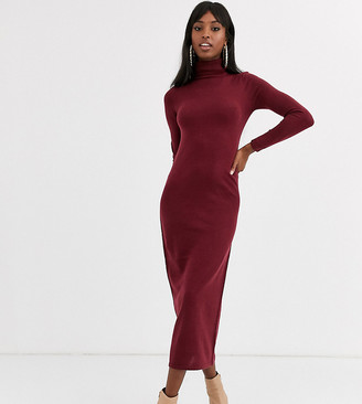 Brave Soul Tall maxi dress with roll neck in berry