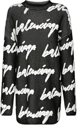 Balenciaga Over Logo Knit Cotton Blend Sweater