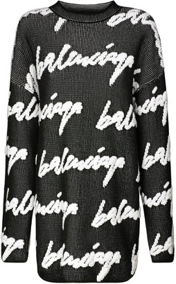 Balenciaga Oversize Logo Cotton Blend Knit Sweater