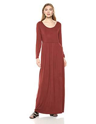 Daily Ritual Jersey Long-Sleeve Empire-Waist Maxi Dress Casual,(EU 2XL)