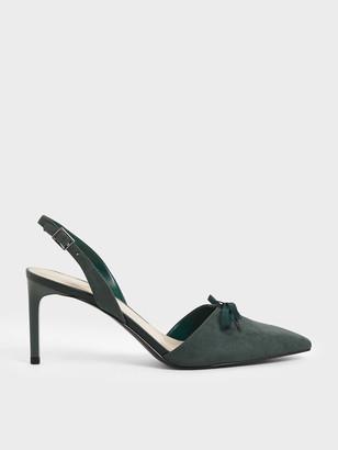 Charles & Keith Ribbon Tie Textured Slingback Heels