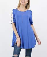 42pops 42POPS Women's Tunics BLUE - Blue Crochet-Accent Crewneck Curved-Hem Hi-Lo Tunic - Women & Plus