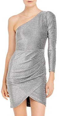 Aqua Metallic One Shoulder Dress - 100% Exclusive