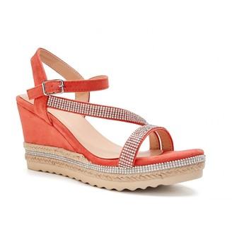 Paradox London Yoki Coral High Heel Ankle Strap Espadrilles
