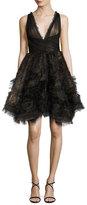 Marchesa Sleeveless Tulle Fishtail Cocktail Dress, Black