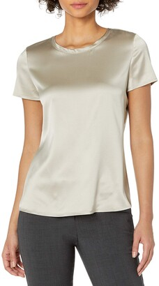 Theory Women's Slim Woven Tee Stretch Satin