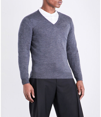 John Smedley Men's Charcoal Blenheim V-Neck Merino Wool Jumper, Size: L