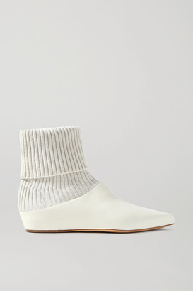 Gabriela Hearst Rocia Leather And Cashmere Sock Boots - Ivory
