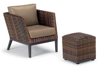 Beachcrest Home Mandeville Woven Patio Chair with Cushions and Ottoman Cushion Color: Truffle