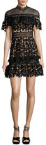 Self-Portrait Yoke Frill Star Mini Dress, Black