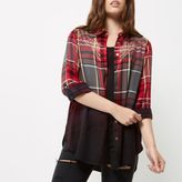 River Island Womens Petite red dip dye check western shirt