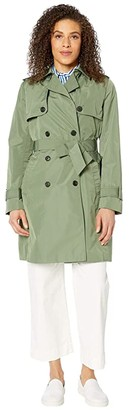 Tommy Hilfiger Adaptive Long Trench with a Velcro Brand Closure Belt (Winter Moss) Women's Clothing