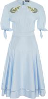 Zac Posen Stretch Cotton Poplin Pleated Dress