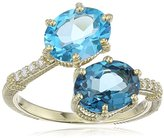 """Judith Ripka Flora"""" Matching Oval Bypass Ring with Pave Band Diamond On Band and Oval Swiss Blue Topaz and London Blue Topaz Ring, Size 7"""