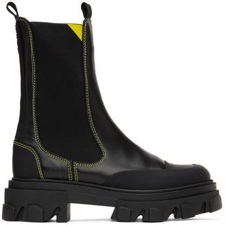 Ganni Black Mid Chelsea Boots