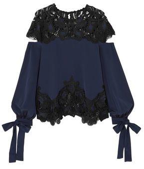 Jonathan Simkhai Panele Guipure Lace And Cady Gown