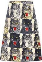 Gucci Tiger face print silk a-line skirt - women - Silk - 42