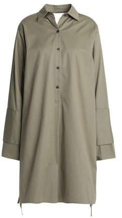 Tome Satin-paneled Cutout Cotton-twill Shirt Dress