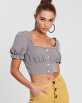 Missguided Herringbone Check Button Puff Sleeve Top