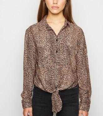 New Look Petite Leopard Print Tie Front Shirt
