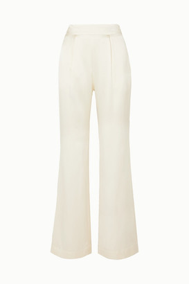 Off-White La Collection - Gabrielle Hammered Silk-satin Wide-leg Pants