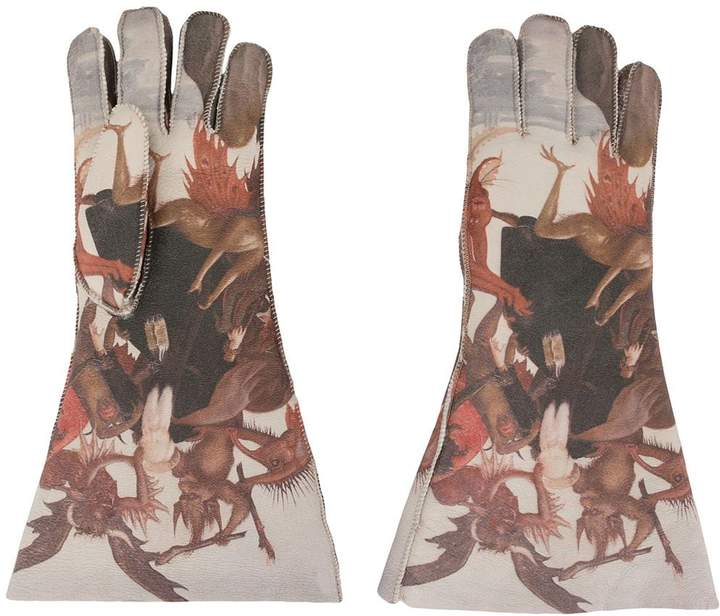 Undercover long painting print gloves