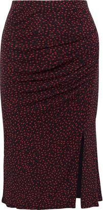 Diane von Furstenberg Willa Ruched Printed Stretch-mesh Pencil Skirt