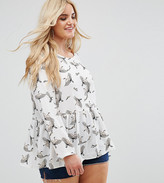 Alice & You Long Sleeve Smock Top With Bird Print