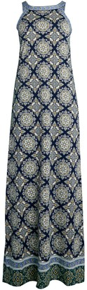 Max Studio Print Long Halter Dress