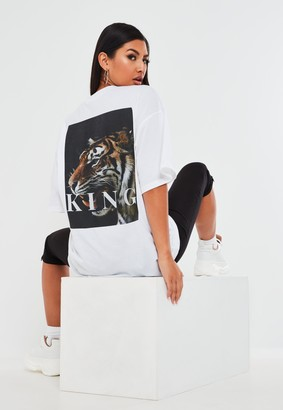 Missguided White Tiger Back Graphic T Shirt