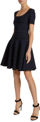 Alaia Campanelle Scalloped Jersey Scoop-Neck Dress