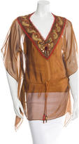 David Meister Embroidered Silk Blouse