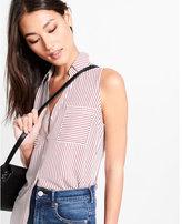 Express original fit red stripe sleeveless portofino shirt