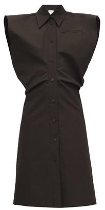 Bottega Veneta Wide-shoulder Cotton-blend Shirtdress - Womens - Dark Brown