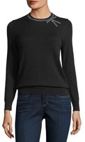 Kate Spade Bow Embellished Crewneck Wool-Blend Sweater