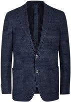 Lardini Navy Textured Cotton Blend Blazer