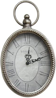 Stratton Home Silver Antique Silver Oval Wall Clock