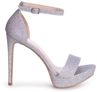 Linzi SOPHIA - Silver Glitter Barely There Stiletto Platform Heels