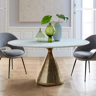 west elm Silhouette Pedestal Oval Dining Table - White Marble/Antique Brass