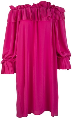 P.A.R.O.S.H. Fuchsia Short Dress With Pleated Ruffles And Uncovered Shoulders