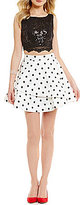 Jodi Kristopher Sequin Lace Top To Polka Dot Skirt Two-Piece Fit-And-Flare Dress